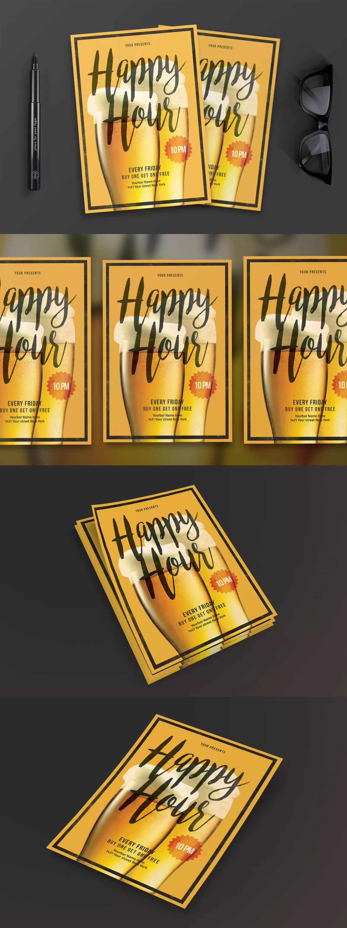 Happy Hour Flyer Template Psd Flyer Design Templates Pinterest