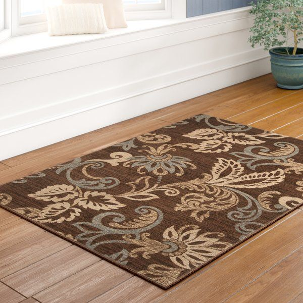 Wingard Flroal Coffee Bean White Beige Area Rug Area