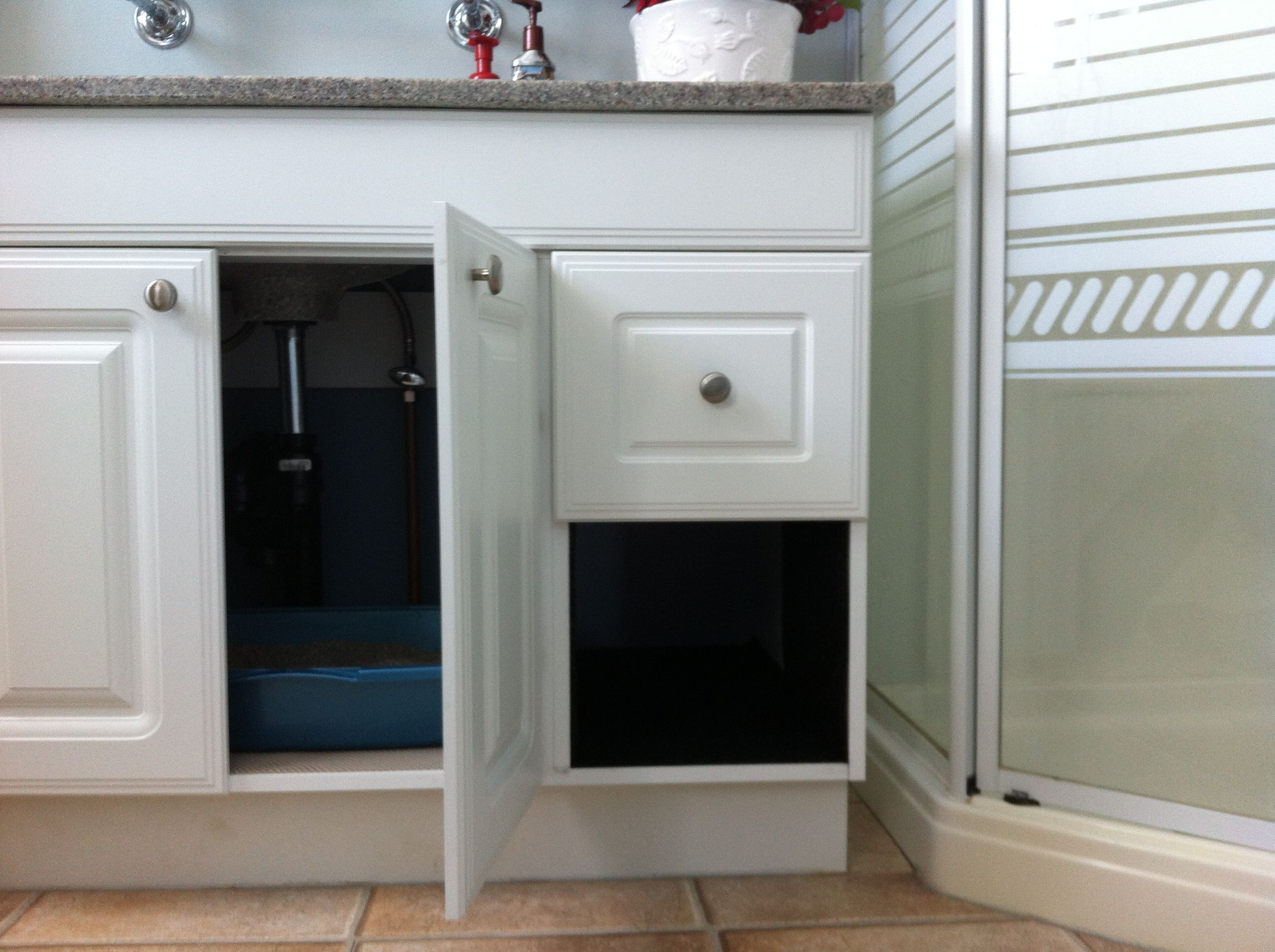 Hidden Litter Box Take Out Drawer On One Side Of Cabinet Line