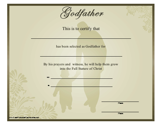 A religious godfather certificate showing a man and child for Walking certificate templates