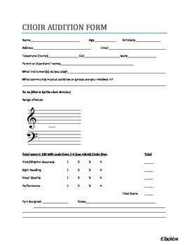 Choir Audition Form  The Music Room