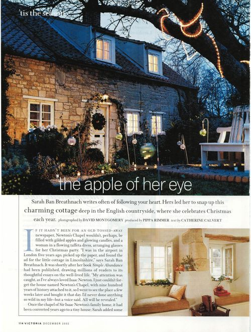 Sarah Ban Breathnach's English home in Victoria magazine 2002- which she  lost but not herself- life teaches us in a lot of ways