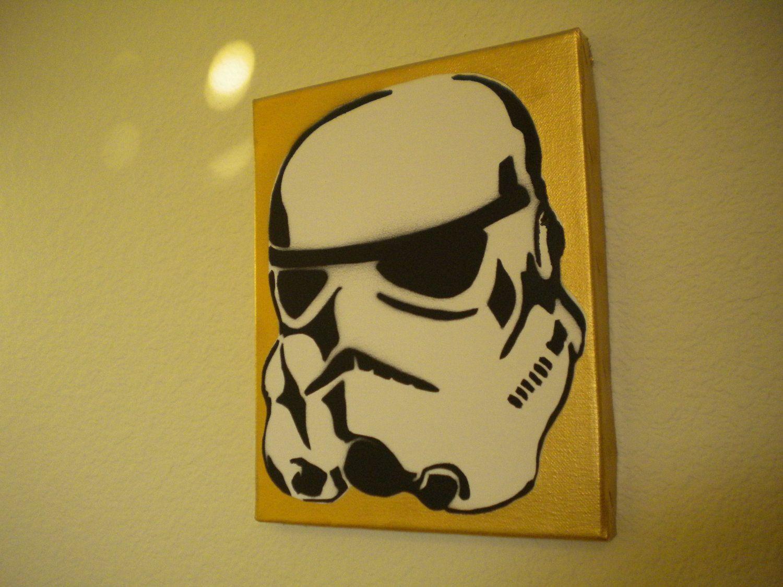 Star Wars Stormtrooper graffiti stencil art canvas. Handmade sprayed ...