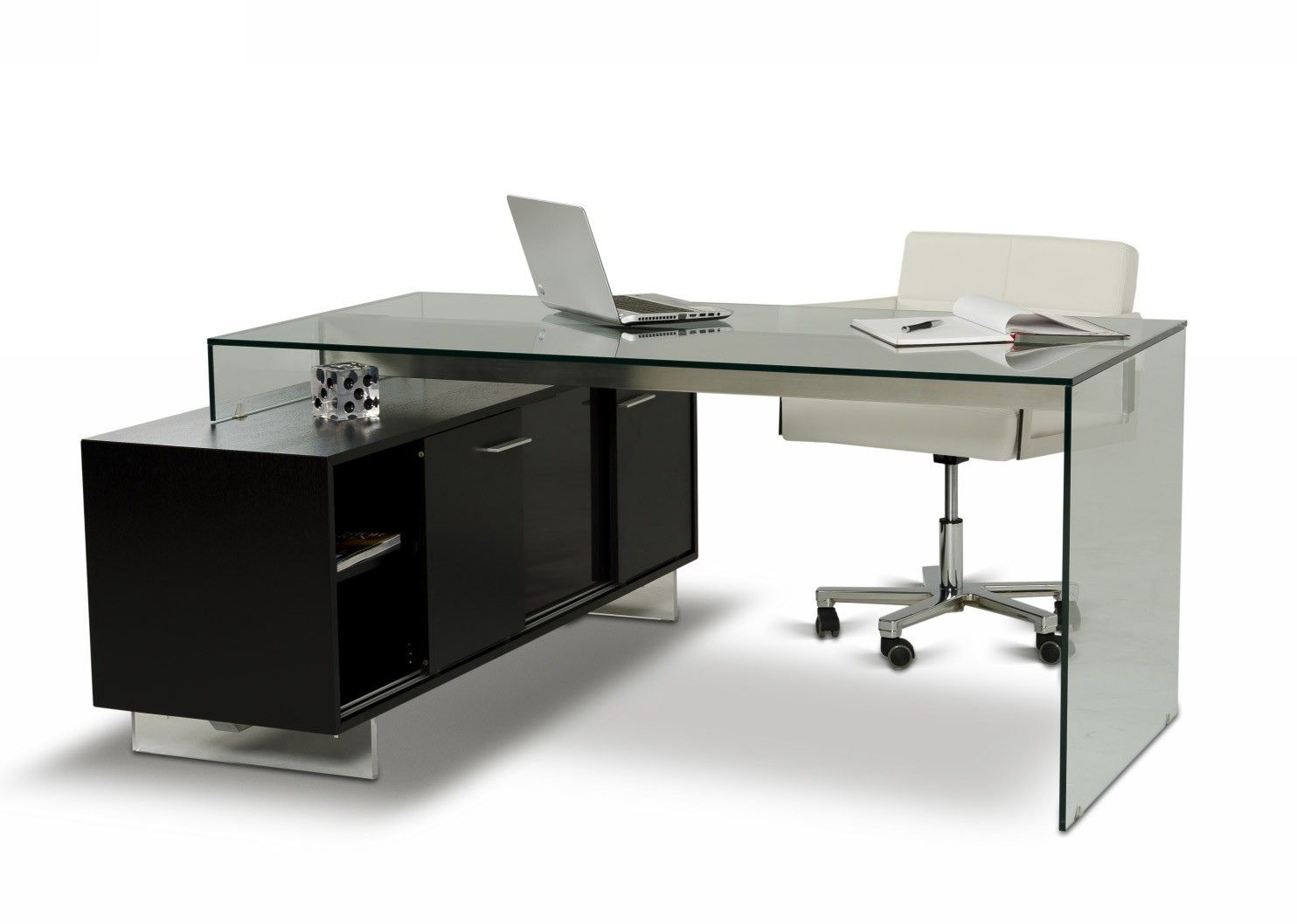 glass top office desk modern. The Modrest Alaska Black Oak Office Desk Features A Modern Glass Top And Side, Ample Cabinet Storage Space In Tinted Stained Wood Panels.