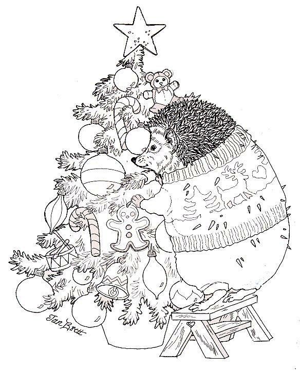 Hedgie Trims The Christmas Tree Christmas Coloring Pages Christmas Coloring Books Christmas Images To Color