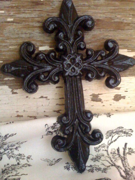 Black Cast Iron Wall Cross Decor
