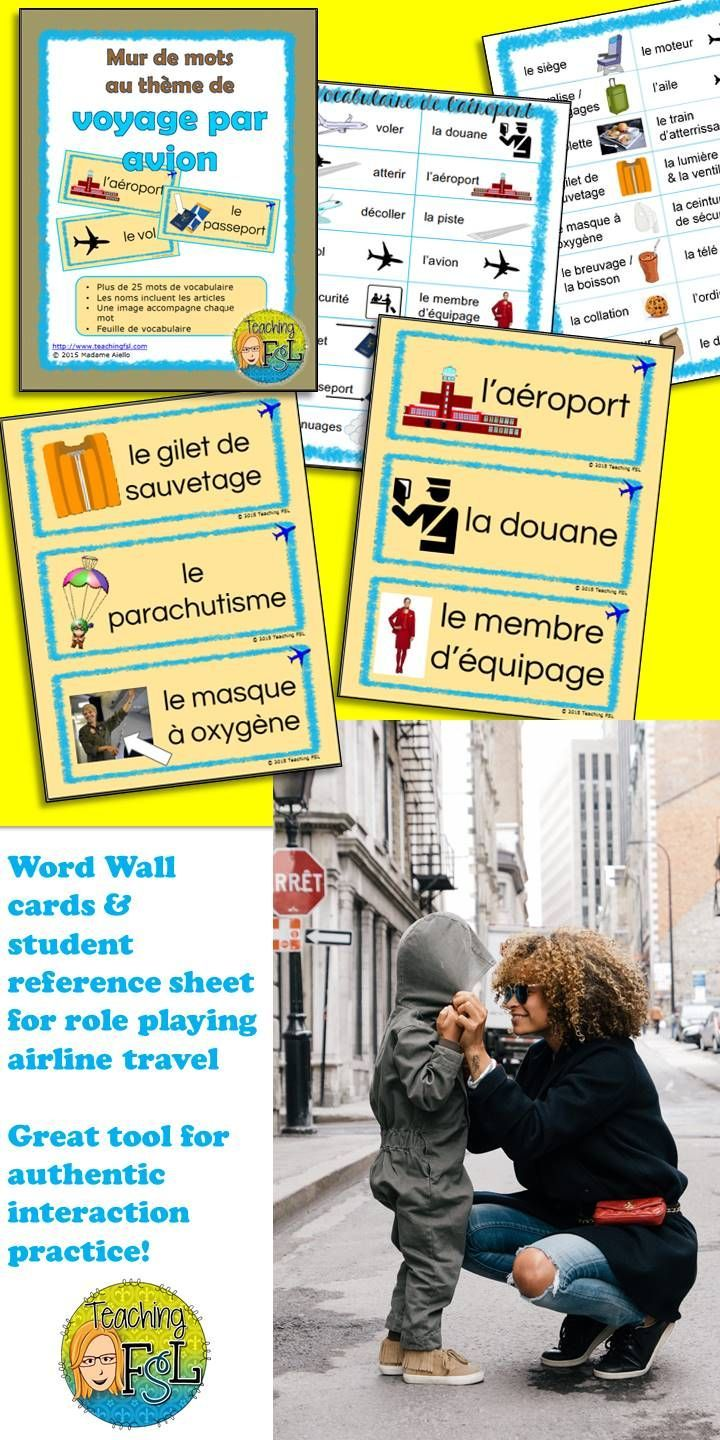 French word wall cards for a dramatic centre with airline theme ...
