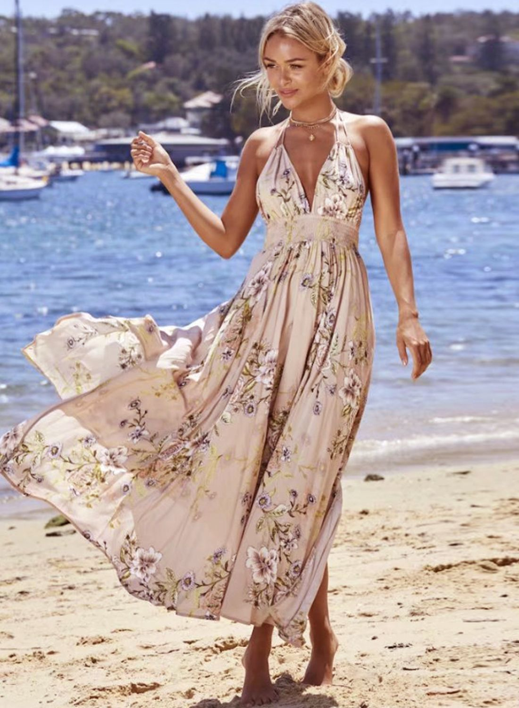 cf068ab995a Women s Bohemian V Neck Sleeveless Backless Floral High Waist Maxi ...