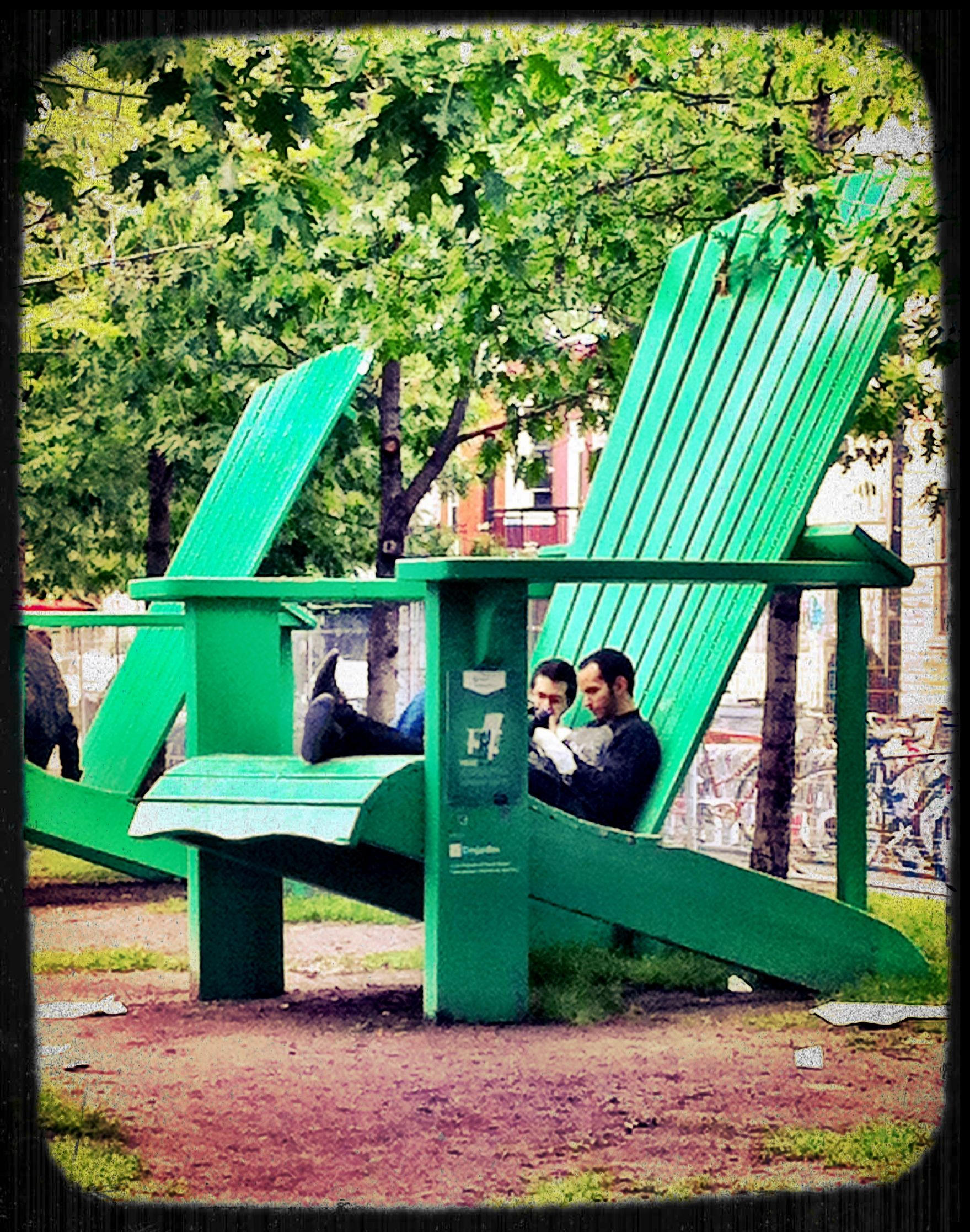 Giant Adirondack Chairs Beside Mont Royal Metro Montreal
