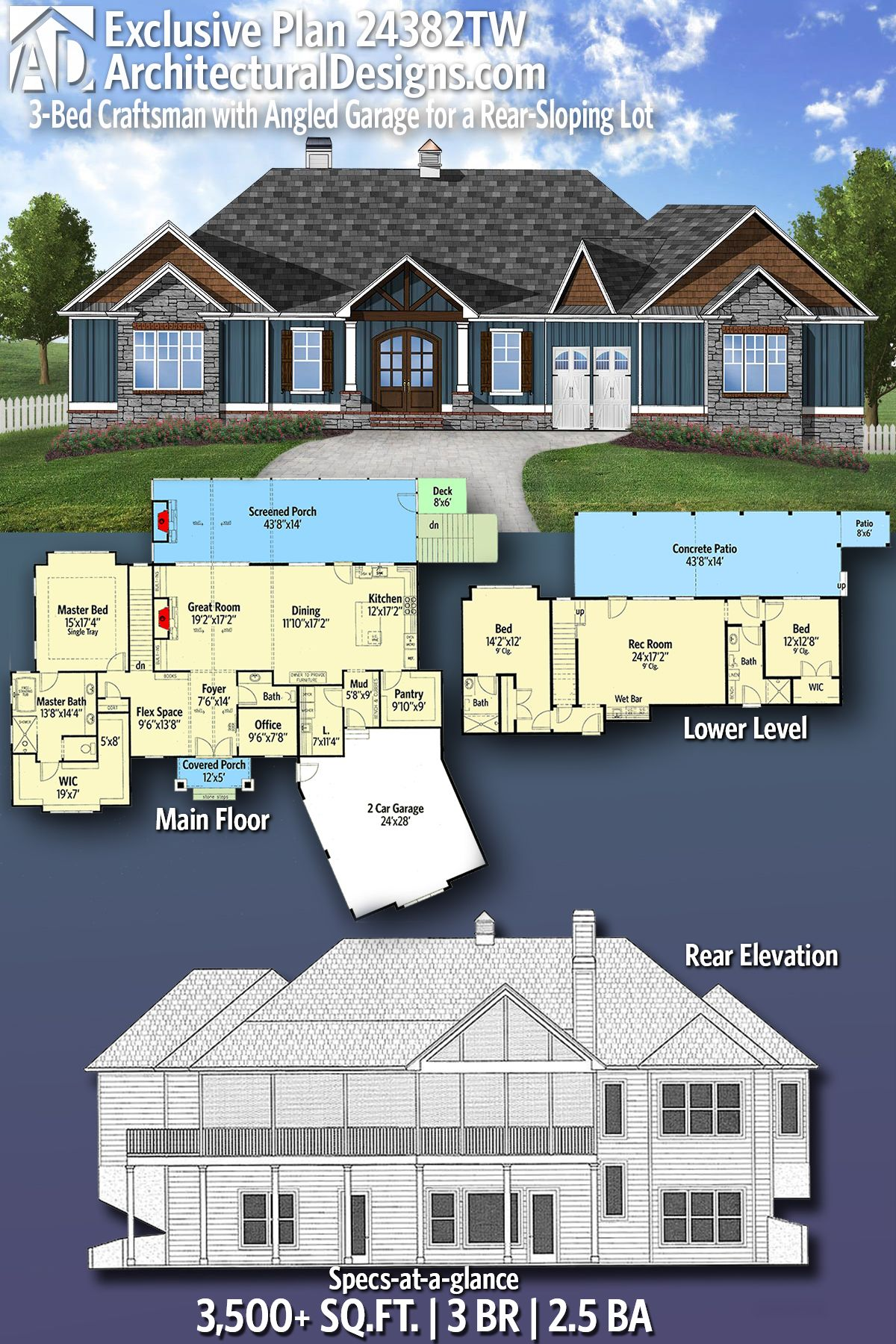 Plan 24382tw 3 Bed Craftsman With Angled Garage For A Rear Sloping Lot Craftsman House Plans Craftsman House Ranch House Plans
