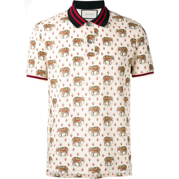 b90bc53b1fe Gucci elephant print polo shirt ($690) ❤ liked on Polyvore featuring men's  fashion, men's clothing, men's shirts, men's polos, black, gucci mens  shirts and ...