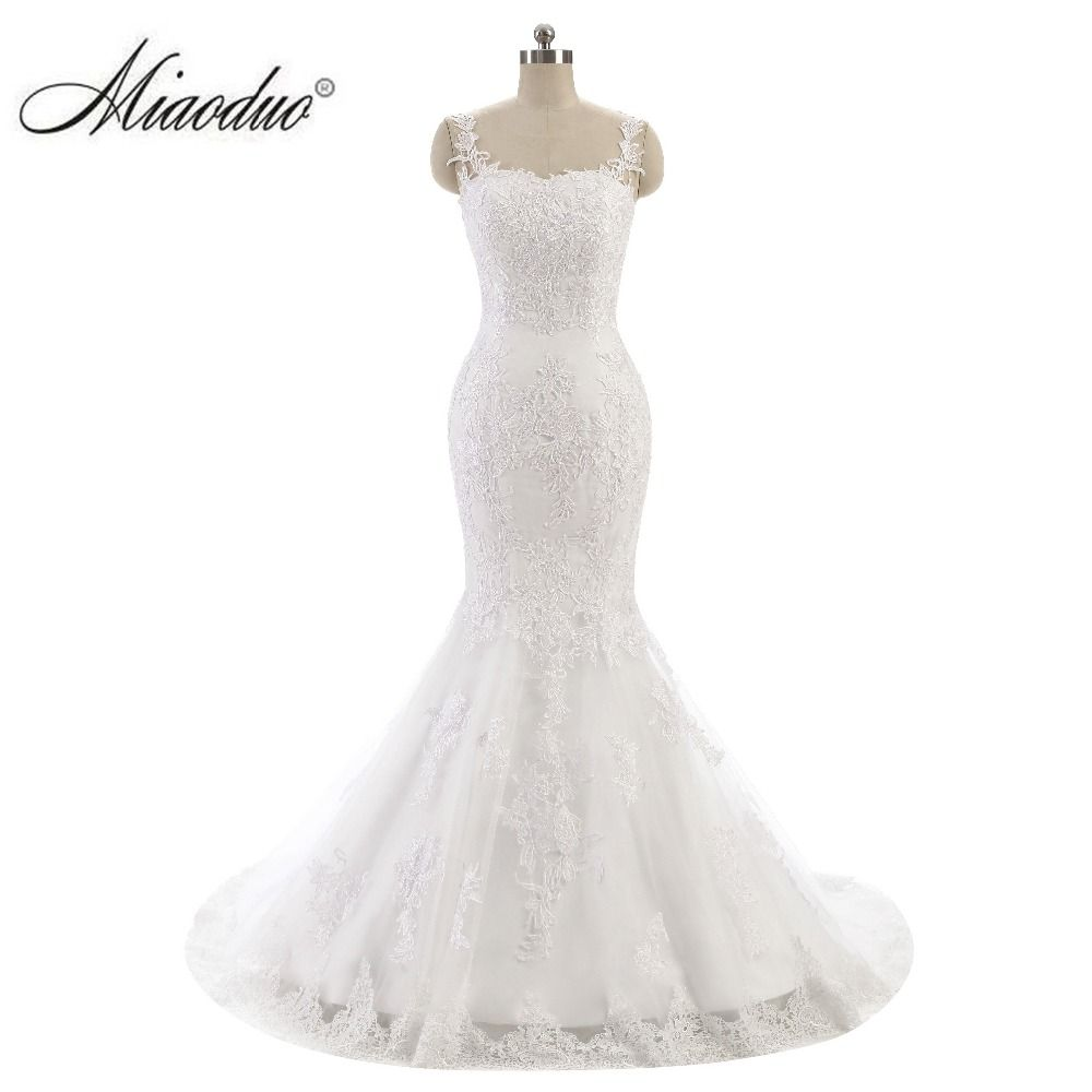 Lace mermaid wedding gowns with long trains  Miaoduo Sexy White Lace Mermaid Wedding Dresses Sleeveless Beaded