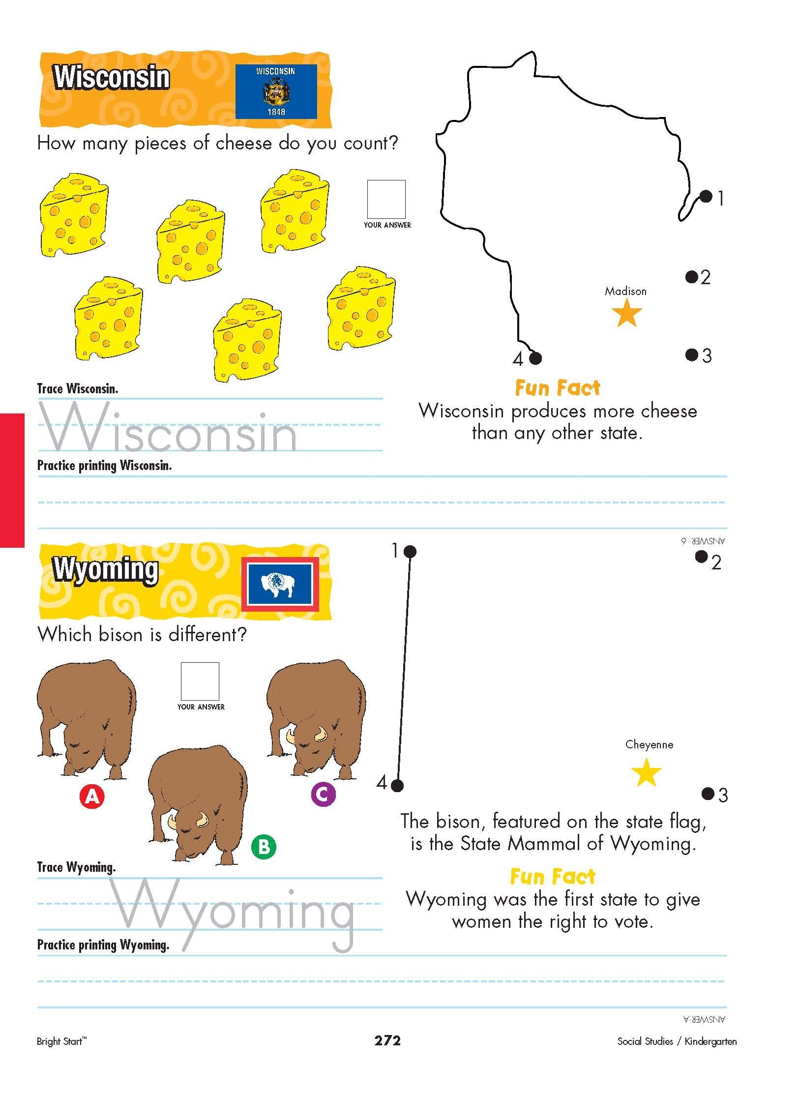 Wisconsin And Wyoming Your Kindergartener Can Practice Writing The State Name And Learn The