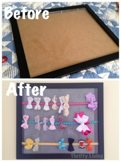 DIY hair bow rack. old picture frame into hanging storage for bows
