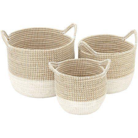 Home White Woven Baskets Grass Basket
