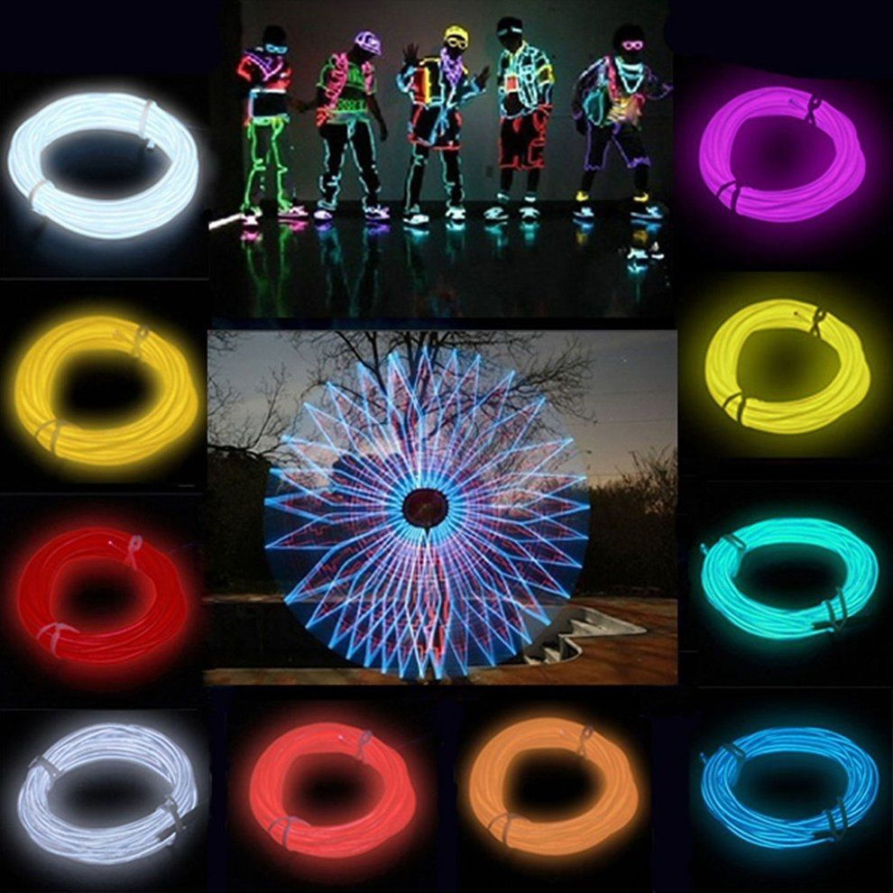 10pcs Flexible El Wire Neon Light 3 Meters For Dance Party Car Decor With Controller Waterproof Car Vehicle Shoes Led Light Auto Dekoration Neon Led