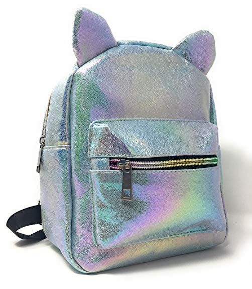 04f6b60671e2 Amazon.com  Holographic Mini Backpack for Girls  Cute Metallic Cat Backpack  Purse Comes in 3 Colors Purple
