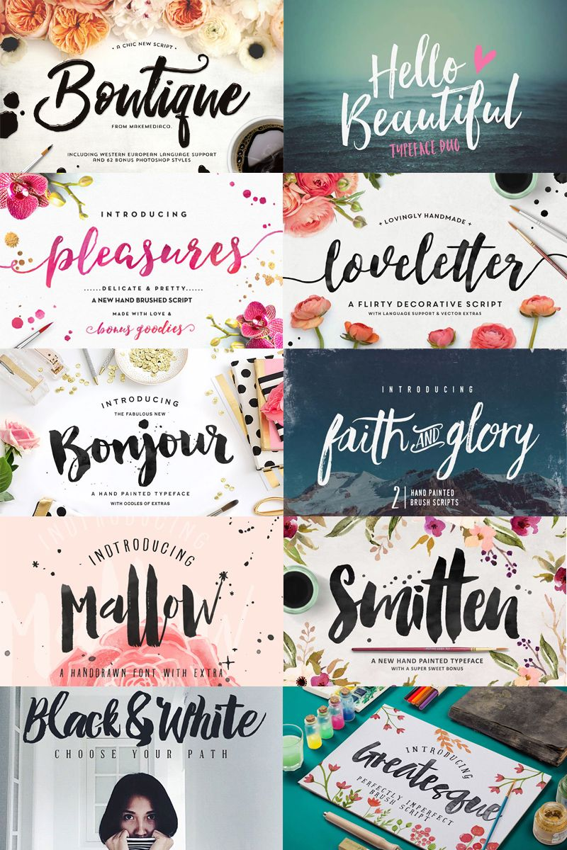 cursive fonts for wedding cards%0A A big list of    brush script fonts you can use in your designs  some