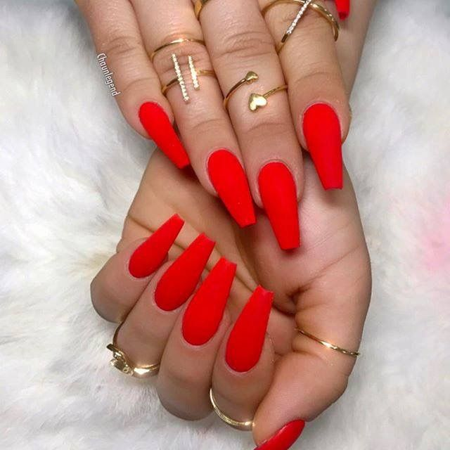 Red coffin nails | Red acrylic nails, Red nails, Coffin ...