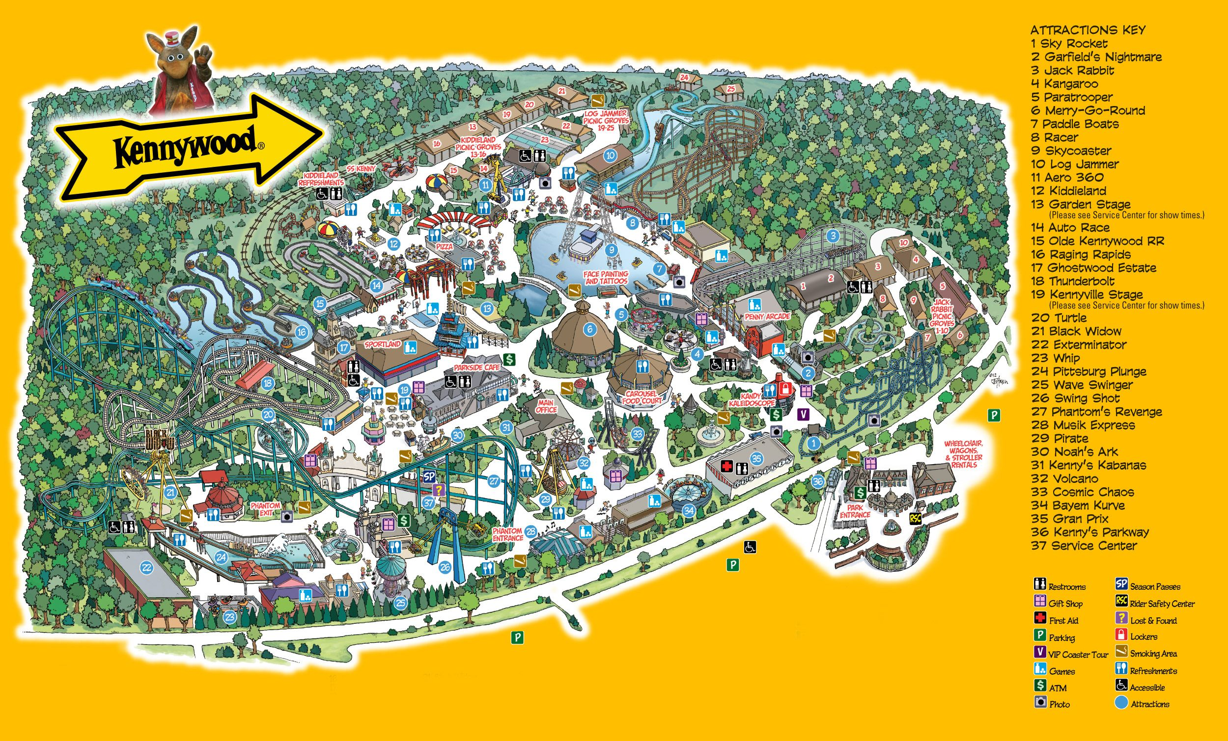 Kennywood Map on lehigh valley international airport map, kings dominion map, seaworld map, consol energy center map, delgrosso's amusement park map, wyandot lake map, six flags map, michigan's adventure map, oakmont country club map, lesourdsville lake amusement park map, pnc park map, holiday world map, dollywood map, funtown splashtown usa map, walibi holland map, kings island map, disneyland map, white swan park map, mt. olympus water & theme park map, cedar point map,