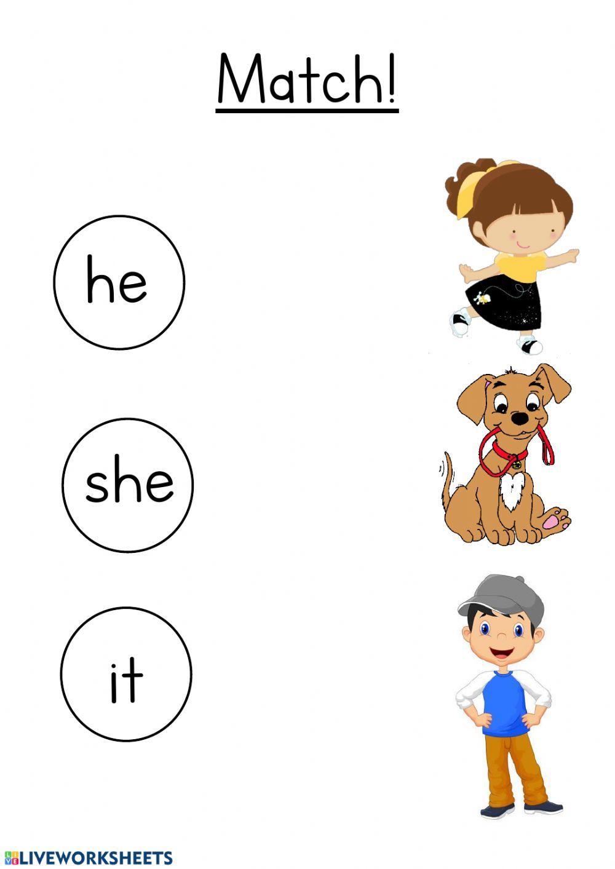 He She It Interactive Worksheet English Worksheets For Kids English Activities For Kids English Phonics [ 1413 x 1000 Pixel ]