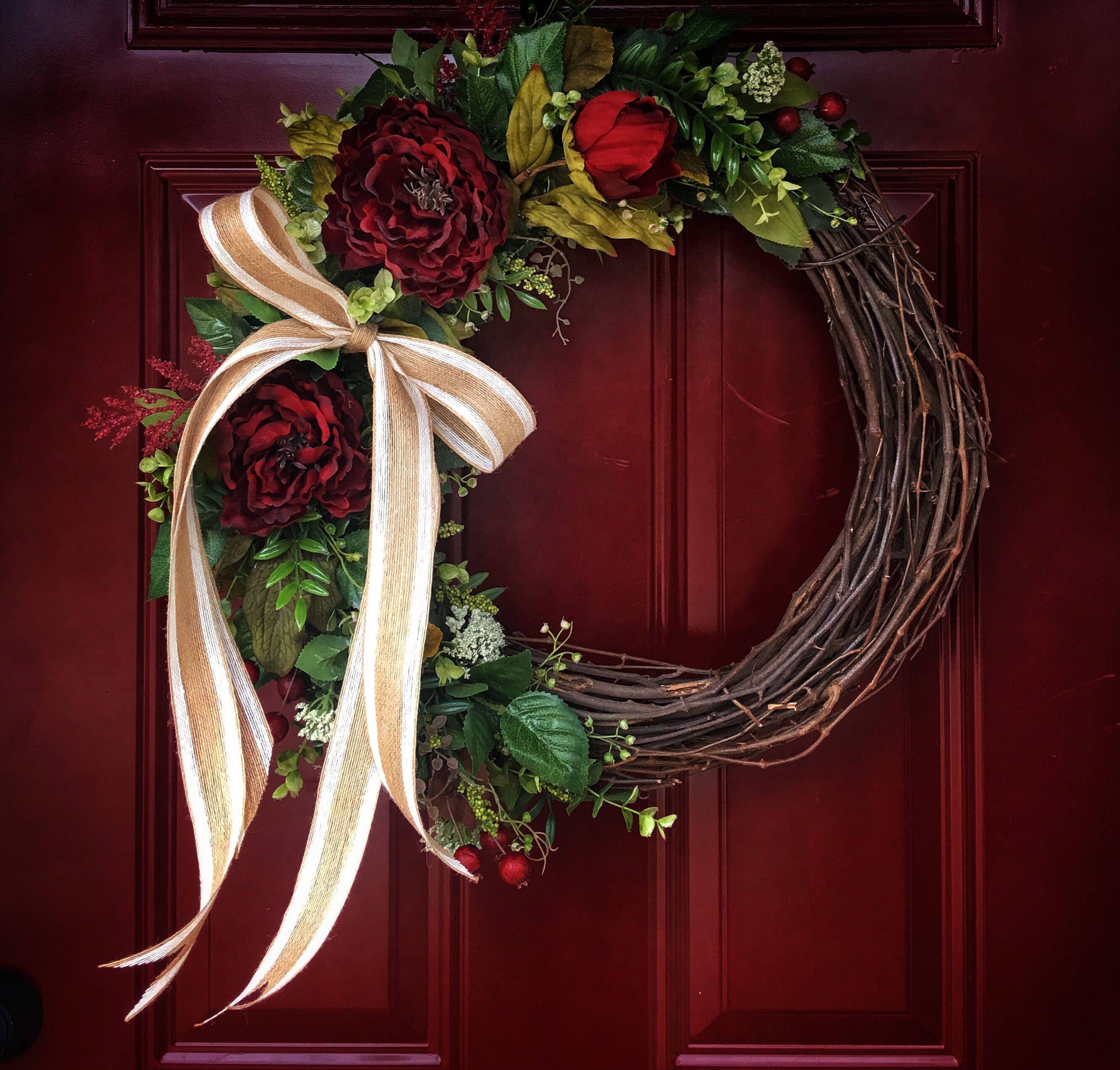 Front Door Wreath For Year Round, Red Peonies Door Wreaths, Grapevine  Wreaths For Front