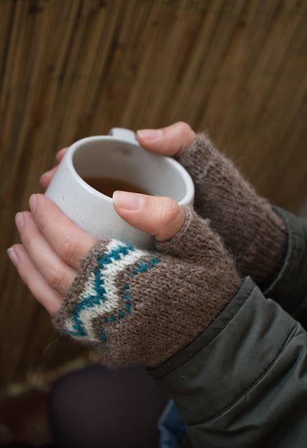 Fingerlose Handschuhe und Mütze mit Jaquard Muster   Norweger ...