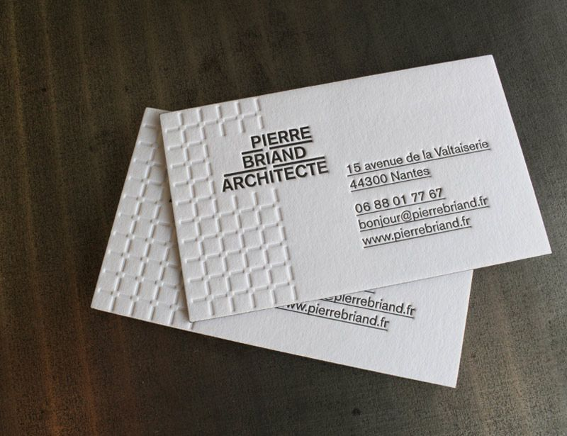 Mpression Cartes De Visite Letterpress Recto Seul 1 Couleur Debossage Sans