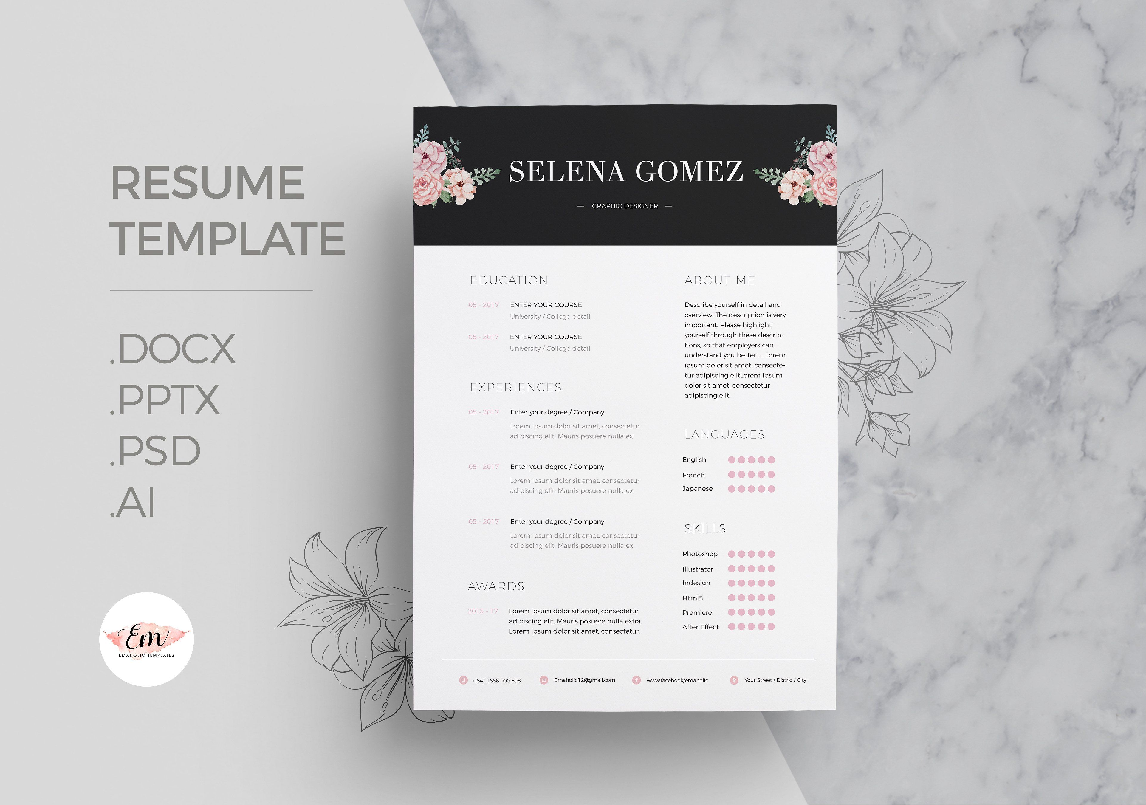 Floral 1 page Resume Cover letter