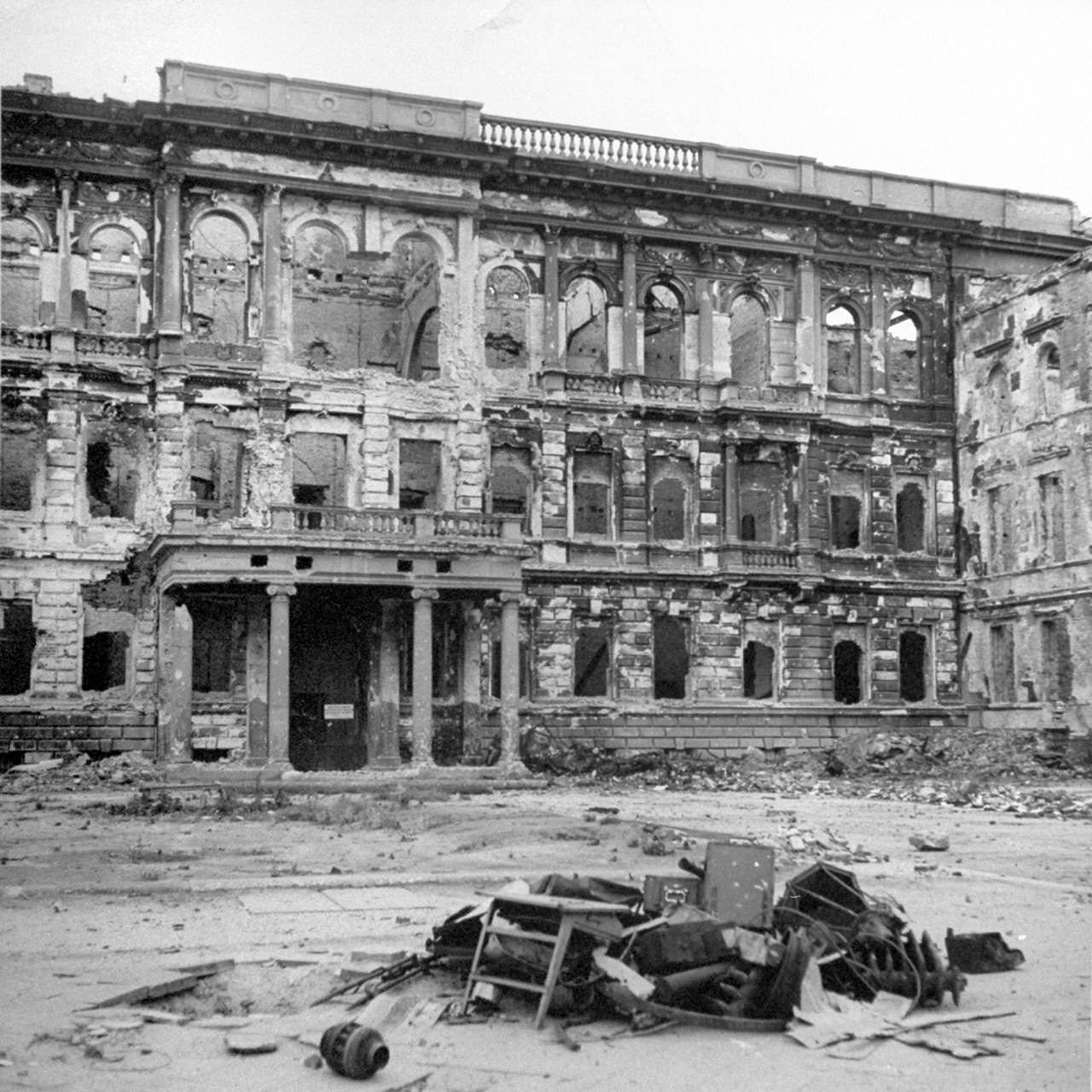 The ruins of the building that was the American Embassy in