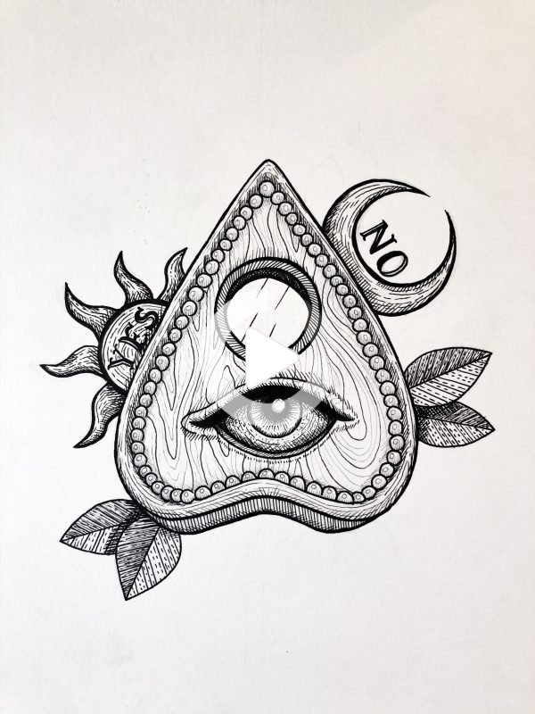 Inktober 2019 Day 22 Ghost Vanessa Viegas Art Ouija Planchette Tattoo All Seeing Eye Tattoo In 2020 Ouija Tattoo All Seeing Eye Tattoo Eye Tattoo