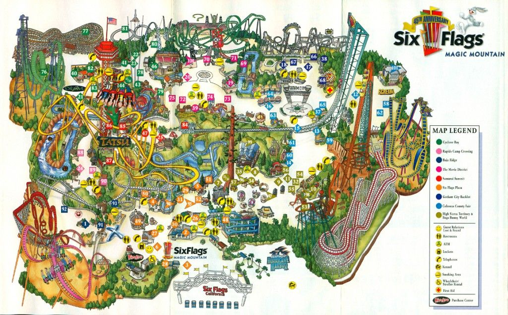 2006 Attractions At Six Flags Magic Mountain The Coaster Guy Theme Park Map Six Flags Theme Park