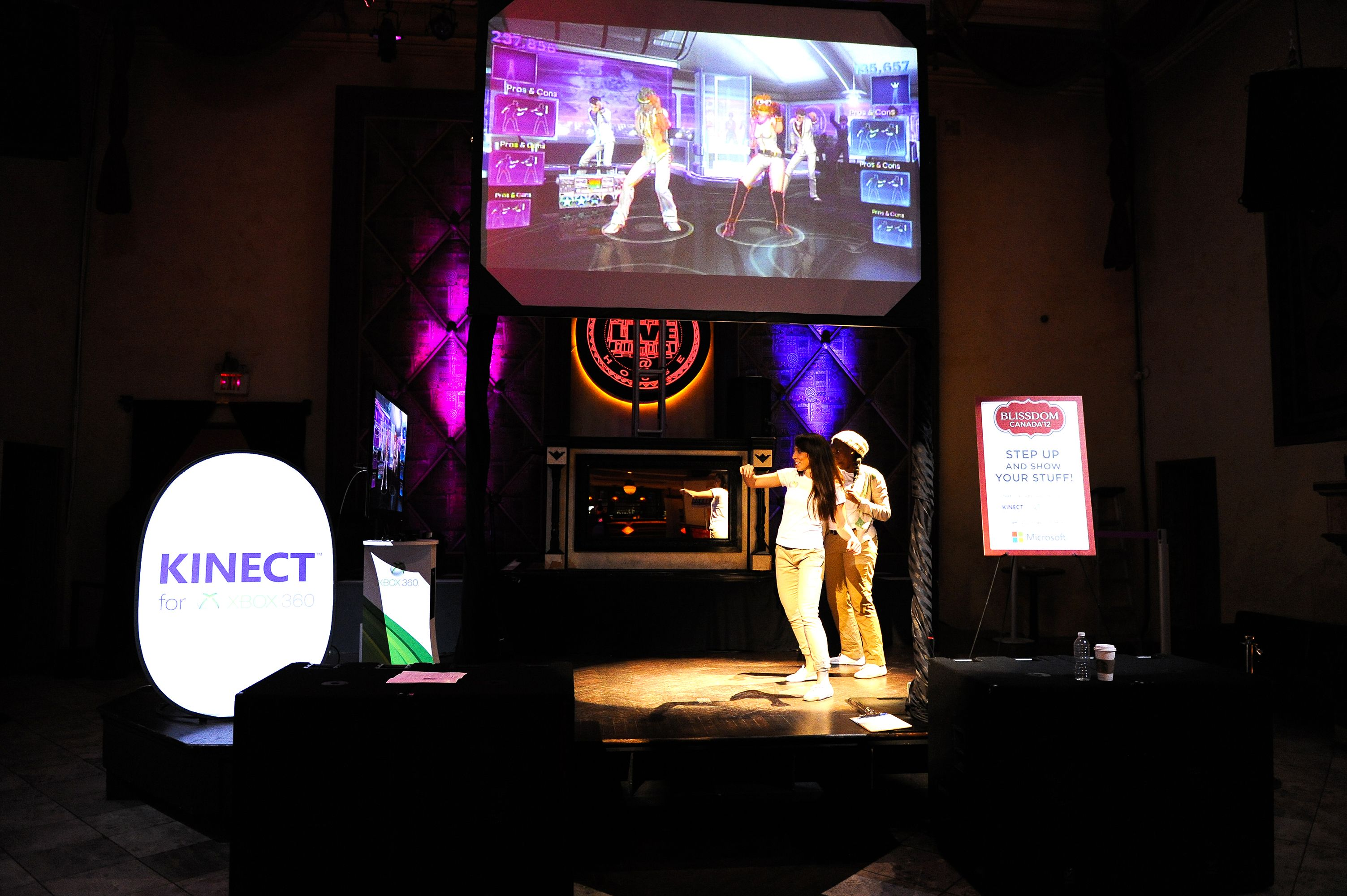Kinect station at Microsoft Party  at #BlissdomCA