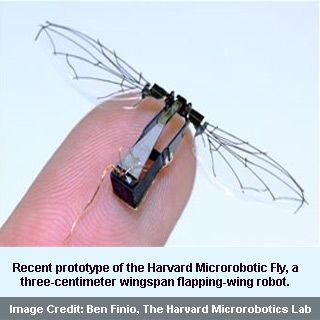 fly spy robot The flying insect in the picture above being developed by the harvard microrobotics lab, does not have a processor, camera or a battery (it receives power from a wired tether) if it had any.