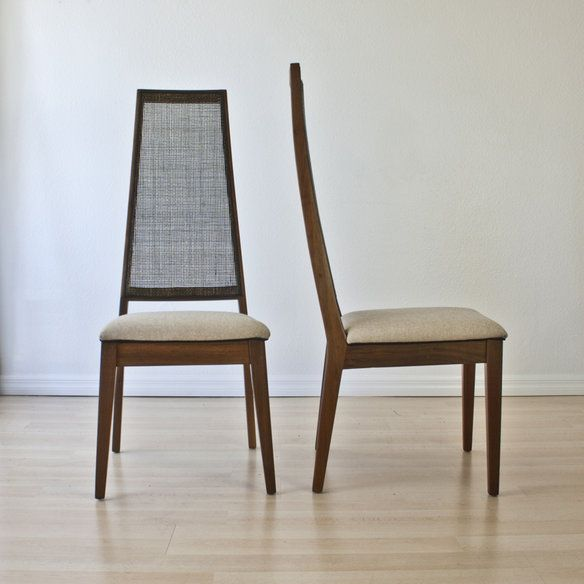 Pair Of Mid Century Dining Chairs W Cane Back