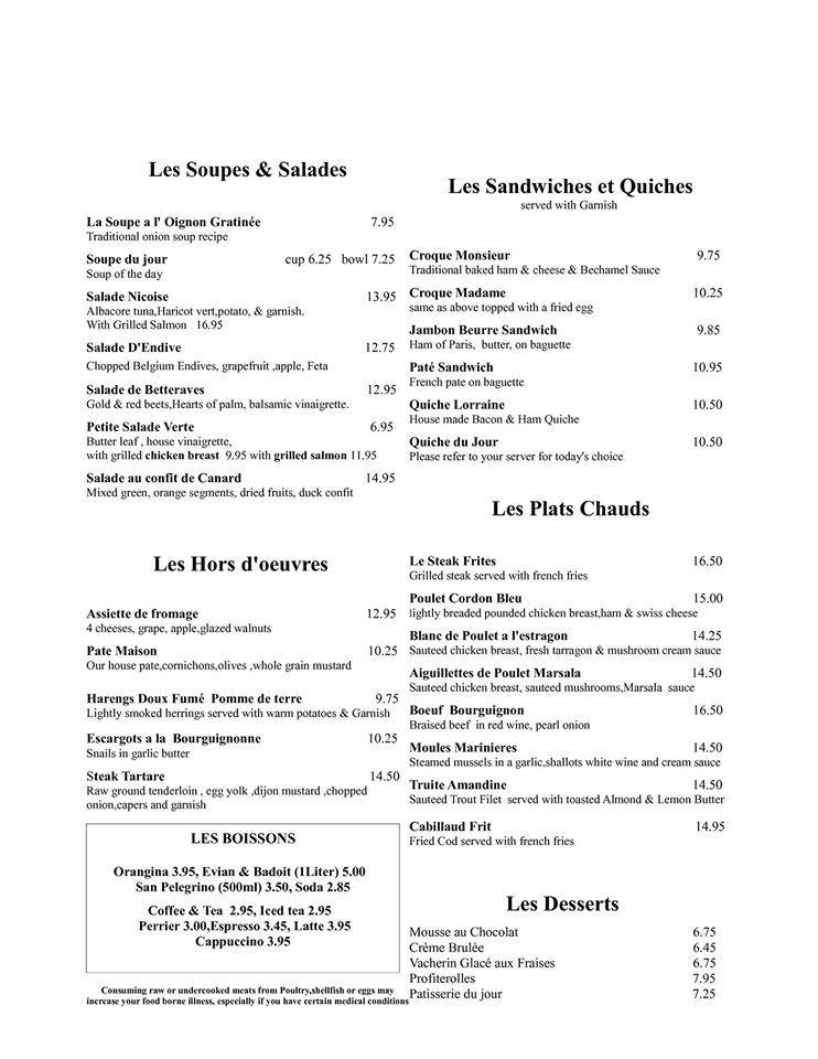 Le Troquet french restaurant Albuquerque restaurants Pinterest - french menu