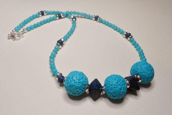 Ceramic Turquoise and Indigo Necklace by SLeeKBeadedJewelry