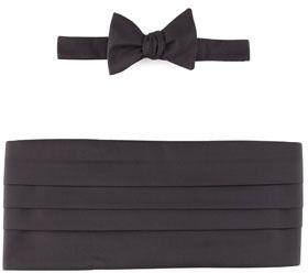 $145, Neiman Marcus Self Tie Faille Bow Tie Cummerbund Set Black. Sold by Neiman Marcus. Click for more info: https://lookastic.com/men/shop_items/18855/redirect