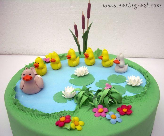 Alle Eendjes Zwemmen In Het Water Duck Cake Pond Cake Themed Cakes