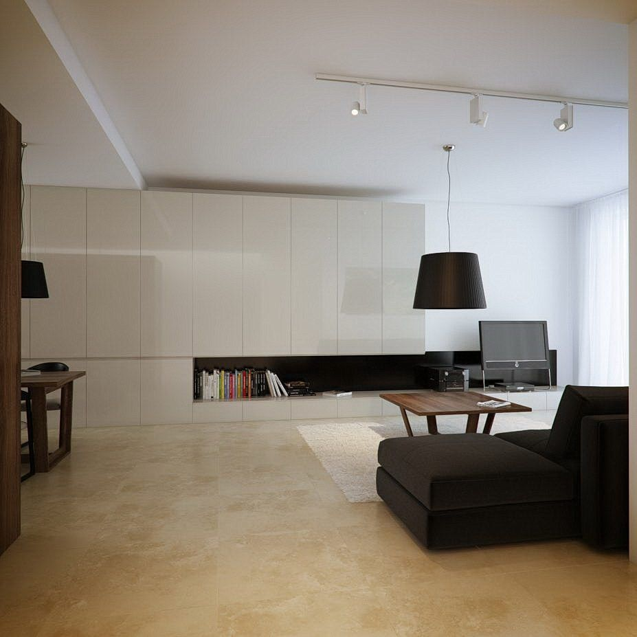 51 Modern Living Room Design From Talented Architects: Contemporary White Cream Living Room Marble Floor Decor