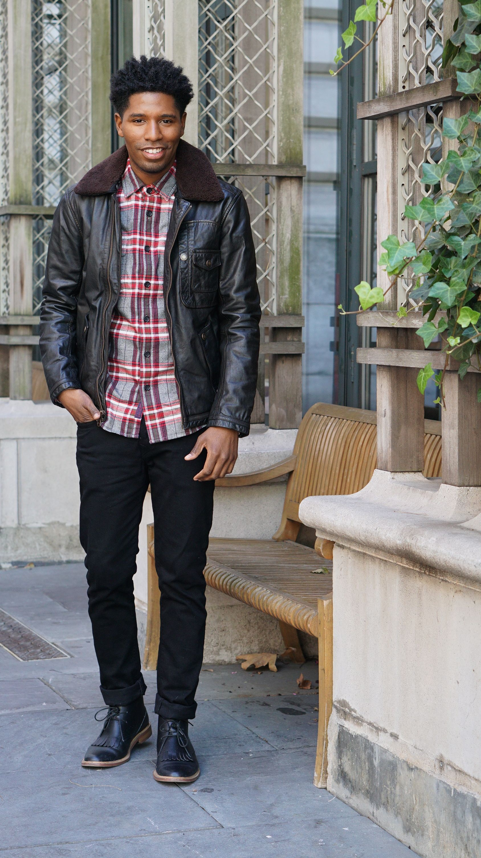 f4a0b14743 Fall outfit ideas - Leather Shearling + Red Flannel + Black Denim + Black Chukka  Boots  menswear