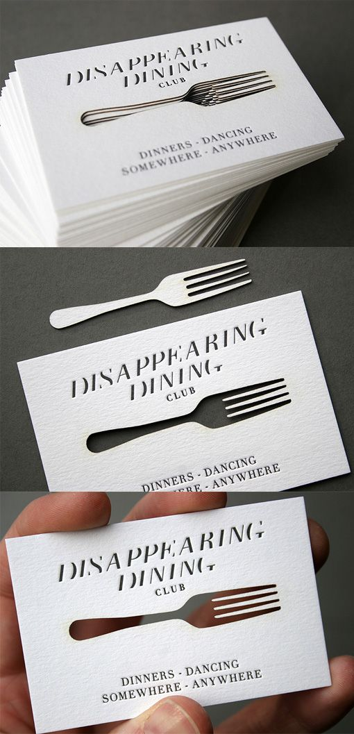 Clever concept for a laser cut business card design for a dining laser cut business cards for the disappearing dining club by united creatives colourmoves