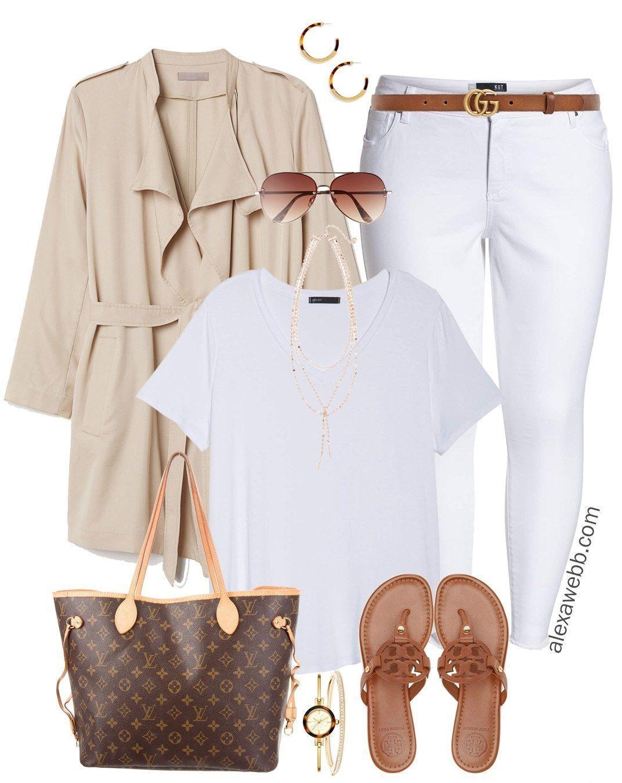 Plus Size Neutral White Jeans Outfit Alexa Webb