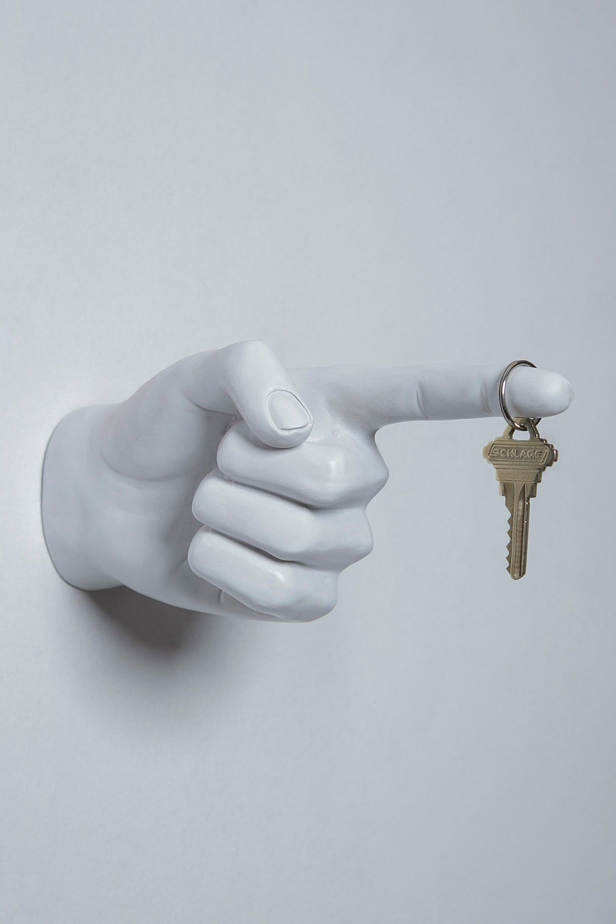 Interior Illusions White One Finger Pointing Wall Hook Hand