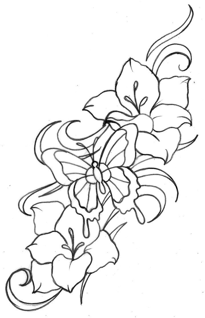 Flower Tattoo Flash | Butterfly and Flower Tattoo 2 by ~Metacharis ...