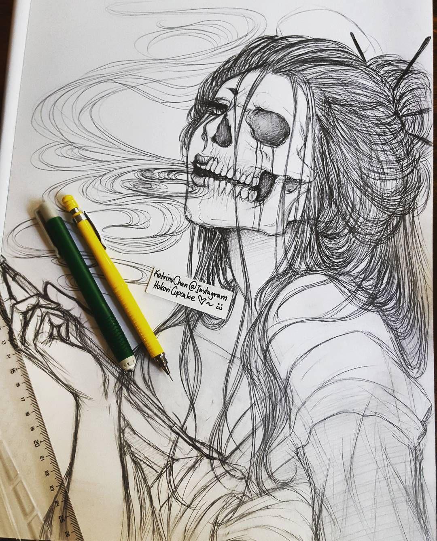 Planing the details and such for this one!  I really like how it looks so far and I hope everyone else likes it too 3!  Enjoy! ---- #hokoricupcake #katrinu #katrinuchan #illustration #art #artwork #drawning #wip #workinprogress #japanese #japan #日本 #骨女 #女 #sketch #pencildrawing #pencilart #skull #skeleton #bones #geisha #芸者 #animeartist #mangaartist #mangaka #漫画家 #japanesemythology #woman #smoking #smoke by katrinuchan