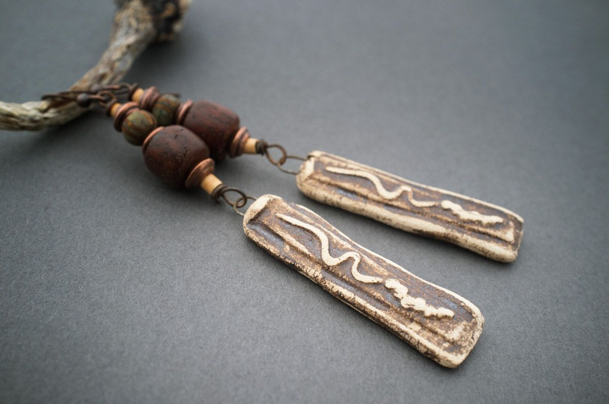 rustic tribal earrings  artisan clay pendant  seed beads  organic  Antique glass  wood beads  primitive  ethnic jewelry  entre2et7 (39.00 USD) by entre2et7 - handmade - jewelry - jewellery - artisan - etsy