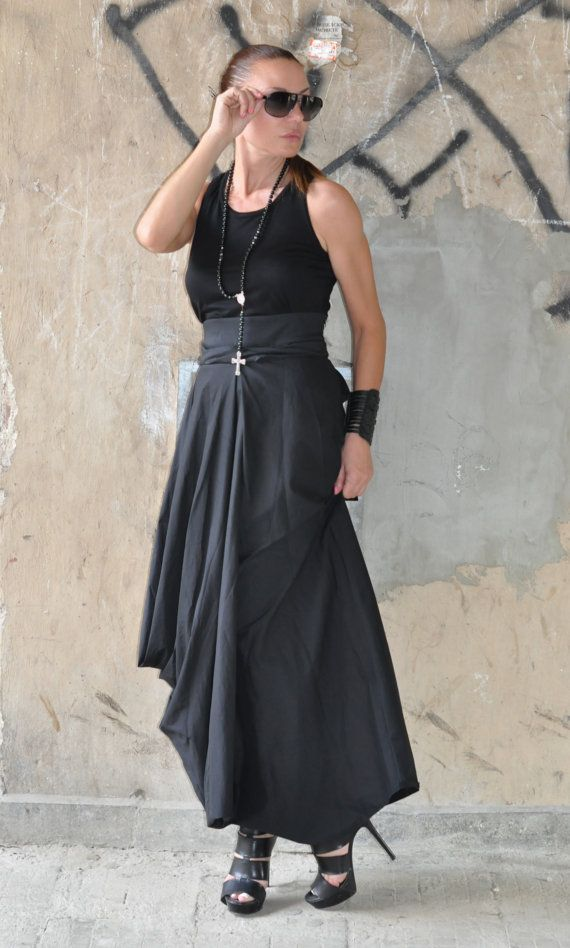 New Collection  Black Oversize Loose Skirt / Long by EUGfashion