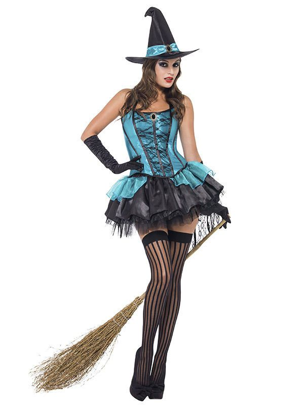 Costumi · Scarpe · Costume da strega sexy azzurra per donna  Questo  travestimento da strega sexy per donna comprende a11fb3bb07c0