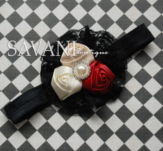 Ivoryred and black baby headbandvintage headband by SAVANIboutique, $11.99